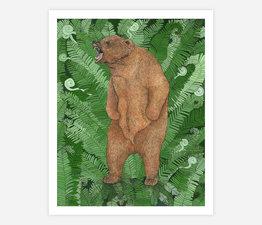 Grizzly Bear with Fiddlehead Fern