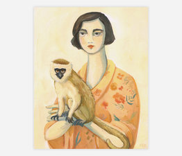 A Lady and Her Monkey
