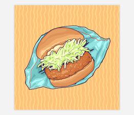 Japan Snack: Sakura Shrimp Croquette Burger