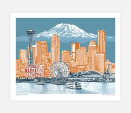 Seattle to Mt. Rainier Blue Skies